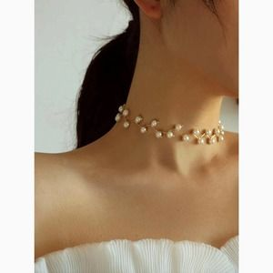 3/$30 Pearl Vine Choker Gold Statement Necklace